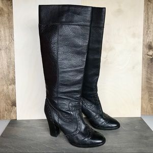 Michael Kors Black Leather Riding Boots Heel 7
